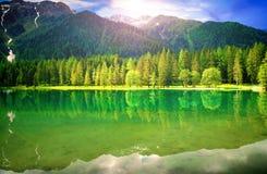 Ansicht von einem alpinen See Lizenzfreie Stockbilder