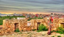 Ansicht von einem defensiven Turm bei Safi, Marokko lizenzfreies stockbild
