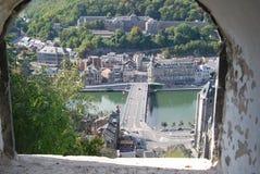 Ansicht von einem Festungsfenster in dinant Stockfotos