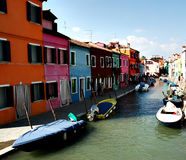 Ansicht von einem Kanal in Burano Stockbild