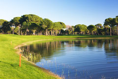 Ansicht von einem Teich an einem Golfplatz Stockbilder