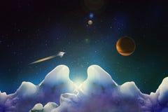 Ansicht von einem unbekannten Eisplaneten der blauen Farbe auf einer Raumschifffliege lizenzfreie abbildung