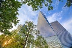 Ansicht von einem World Trade Center-Wolkenkratzer Stockfotos
