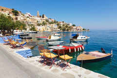 Ansicht von einer Symi-Insel, Dodecanese, Griechenland Stockbilder