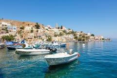 Ansicht von einer Symi-Insel, Dodecanese, Griechenland Lizenzfreie Stockfotos