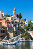 Ansicht von einer Symi-Insel, Dodecanese, Griechenland Lizenzfreies Stockfoto