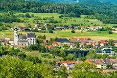 Ansicht von Emmersdorf ein der Donau von Melk-Abtei, Österreich Stockfotografie