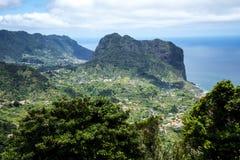 Ansicht von Faial und von  Penha de à guia oder Adlerfelsen, Madeira, Portugal Stockfotos
