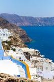 Ansicht von Fira-Stadt - Santorini-Insel, Kreta, Griechenland. Lizenzfreie Stockfotos