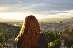 Ansicht von Florenz bei Sonnenuntergang Stockbild