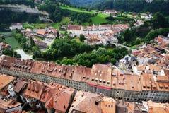 Ansicht von Fribourg von oben. Stockfotografie