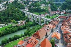 Ansicht von Fribourg von oben Lizenzfreies Stockbild
