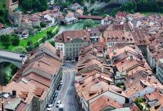 Ansicht von Fribourg von oben Lizenzfreie Stockfotos