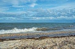 Ansicht von Gardiners-Bucht vom Orient-Strand-Nationalpark, Long Island, lizenzfreies stockbild