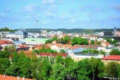 Ansicht von Gediminas-Schloss nach das alte Vilnius Stockbild