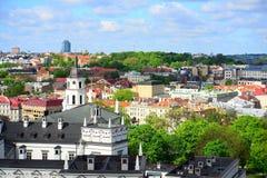Ansicht von Gediminas-Schloss nach das alte Vilnius Stockfotografie