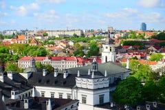 Ansicht von Gediminas-Schloss nach das alte Vilnius Stockbilder