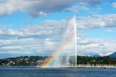 Ansicht von Genf mit Regenbogen Stockbild