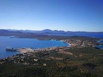 Ansicht von Golfo Aranci von Monte Ruju in Sardinien Stockfotografie