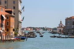 Ansicht von Grand Canal von Accademia-Brücke in Venedig, Italien Stockfotos