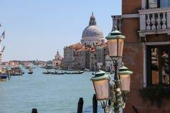 Ansicht von Grand Canal von Accademia-Brücke in Venedig, Italien Lizenzfreie Stockfotos