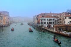 Ansicht von Grand Canal auf nebeligem Morgen Lizenzfreie Stockbilder