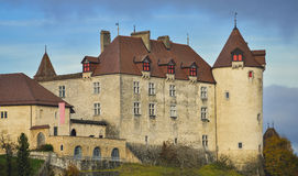 Ansicht von Gruyeres-Schloss, die Schweiz Lizenzfreie Stockfotos