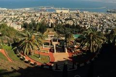 Ansicht von Haifa von Bahai-Gärten israel Lizenzfreie Stockfotos