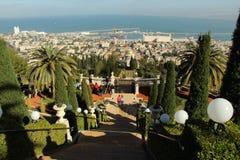 Ansicht von Haifa von Bahai-Gärten israel Stockfoto
