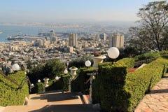Ansicht von Haifa von Bahai-Gärten israel Stockfotografie