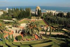 Ansicht von Haifa von Bahai-Gärten israel Stockbilder