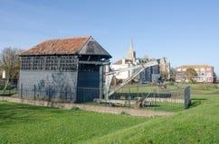 Ansicht von Harwich mit Tretmühlenkran Lizenzfreie Stockfotografie