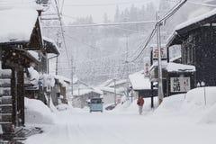 Ansicht von Hatotani-Dorf in der Winterzeit nahe Shirakawa gehen Lizenzfreies Stockfoto