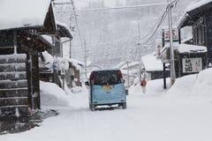 Ansicht von Hatotani-Dorf in der Winterzeit nahe Shirakawa gehen Stockbild
