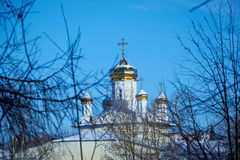Ansicht von Hauben der orthodoxen Kirche durch Niederlassungen von Bäumen im Winter Lizenzfreie Stockfotos