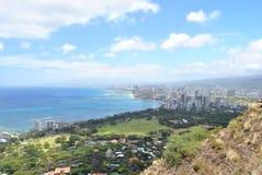 Ansicht von Hawaii auf vom Diamant-Kopf Stockfotos