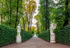 Ansicht von Herbstbäumen und alte Marmorstatuen im Sommer arbeiten im Garten Stockfotos