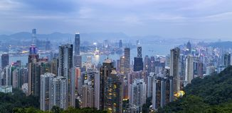 Ansicht von Hong Kong Harbour Stockfoto