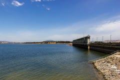 Ansicht von Hume Weir auf See Hume am Anfang Murray Rivers, Albury, Australien lizenzfreies stockbild