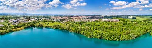 Ansicht von Illkirch-Graffenstadenstadt nahe Straßburg - großartiger Est, Frankreich stockbilder