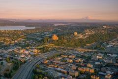 Ansicht von im Stadtzentrum gelegenen Seattle-Skylinen Stockbild