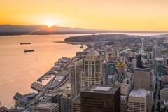 Ansicht von im Stadtzentrum gelegenen Seattle-Skylinen Stockfoto