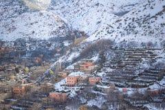 Ansicht von Imlil-Dorf in Marrakesch, Marokko Lizenzfreies Stockbild