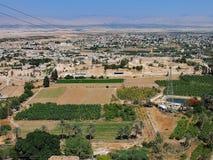 Ansicht von Jericho From The Monastery der Versuchung, Westjordanland Stockbilder