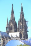 Ansicht von Köln-Kathedrale über dem Rhein Lizenzfreies Stockbild