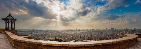 Ansicht von Kairo von der Moschee von Mohamed Ali Stockbild