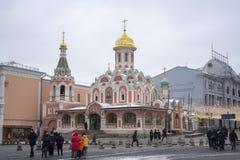 Ansicht von Kasan-Kathedrale im Winter lizenzfreies stockfoto