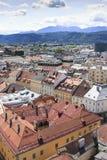 Ansicht von Kirche St. Egyd über Klagenfurt Stockfotografie