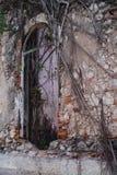 Ansicht von Kolonial-Camara Municipal tun Ambriz-Fenster, das von Natur aus übernommen wird stockfotografie