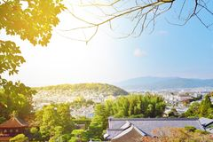 Ansicht von Kyoto-Stadt ist es die Höhepunktansichten der Stadt Lizenzfreie Stockfotos